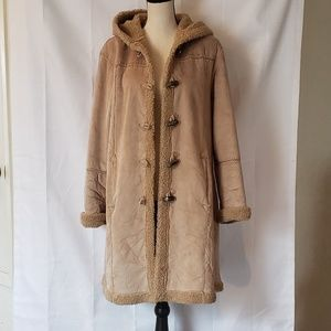 Unbranded khaki colored parka trench coat
